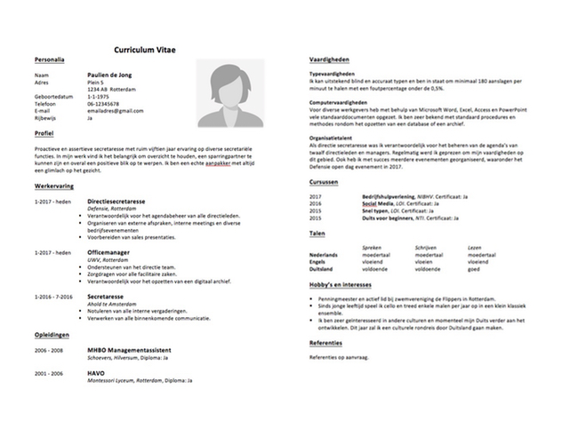3  gratis cv voorbeelden 2019  direct downloaden word